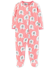 Carter's Baby Girls Elephant-Print Footed Coverall