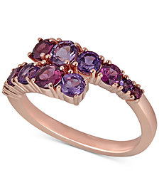 Rhodolite (7/8 ct. t.w.) & Amethyst (3/8 ct. t.w.) Bypass Statement Ring in 14k Rose Gold-Plated Sterling Silver
