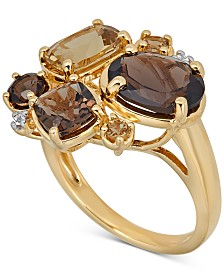 Multi-Gemstone Cluster Ring (4-1/3 ct. t.w.) in 14k Gold-Plated Sterling Silver