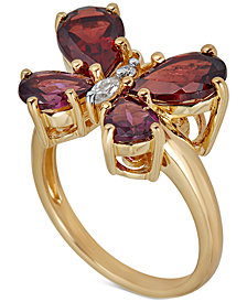 Multi-Gemstone (4-1/5 ct. t.w.) Butterfly Ring in 14k Gold-Plated Sterling Silver