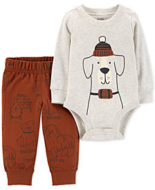 Carter's 2-Pc. Dog Graphic Cotton Bodysuit & Printed Jogger Pants