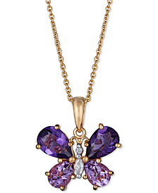 """Multi-Gemstone Butterfly 18"""" Pendant Necklace (3-3/8 ct. t.w.) in 14k Gold-Plated Sterling Silver"""