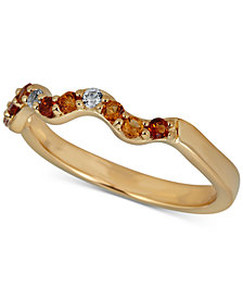 Citrine (1/6 ct. t.w.) & White Topaz Accent Wavy Band in 14k Gold-Plated Sterling Silver