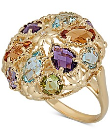 Multi-Gemstone Cluster Ring (10-1/5 ct. t.w.) in 14k Gold-Plated Sterling Silver