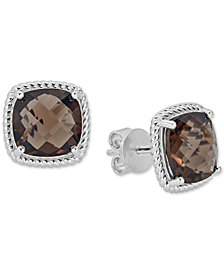 Smoky Quartz Rope Frame Stud Earrings (8 ct. t.w.) in Sterling Silver (Also in Blue Topaz, Light Amethyst & Dark Amethyst)