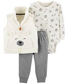 Carter's Baby Boys 3-Pc. Bear Vest, Bodysuit & Pants Set