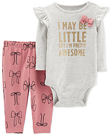 Carter's Baby Girls 2-Pc. Cotton Awesome Bodysuit & Bow-Print Pants Set