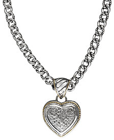 Balissima by EFFY Diamond Pave Heart Pendant (1/3 ct. t.w.) in 18k Gold and Sterling Silver