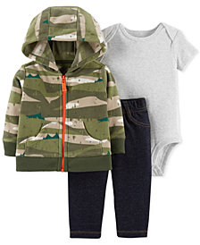 Carter's Baby Boys 3-Pc. Printed Hoodie, Bodysuit & Jeans Set