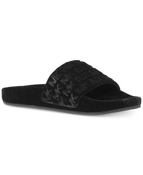 ef63b128b0ed Michael Kors Camden Embossed Velvet Slide Sandals   Reviews ...