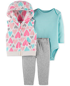 Carter's Baby Girls 3-Pc. Hooded Vest, Bodysuit & Pants Set