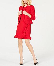 Nine West Kiss-Front Blazer & Ruffled Dress