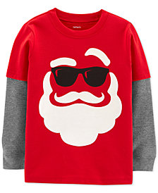 Carter's Toddler Boys Layered-Look Santa-Print Cotton T-Shirt