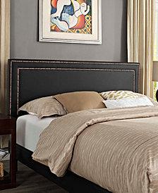 Virginia King Vinyl Platform Bed with Round Splayed Legs