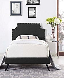 Corene Twin Vinyl Platform Bed with Round Splayed Legs