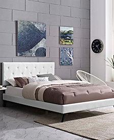 Tarah Full Vinyl Platform Bed with Round Splayed Legs