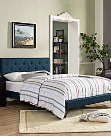 Tarah Full Fabric Platform Bed with Round Splayed Legs