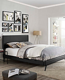 Macie Full Vinyl Platform Bed with Round Splayed Legs