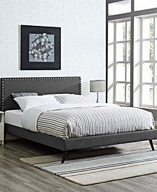 Macie Queen Fabric Platform Bed with Round Splayed Legs