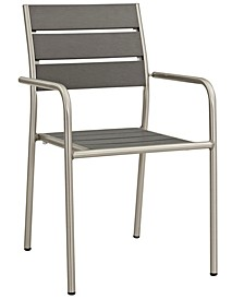 Shore Outdoor Patio Aluminum Dining Rounded Armchair