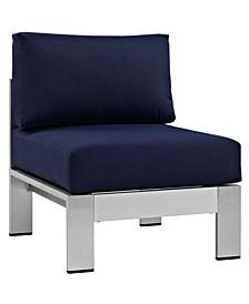 Shore Armless Outdoor Patio Aluminum Chair Orange