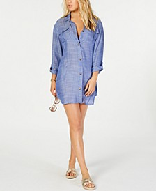 On Island Time Cotton Dress Shirt Cover-Up