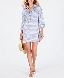 Striped Shirt Dress Cover-Up