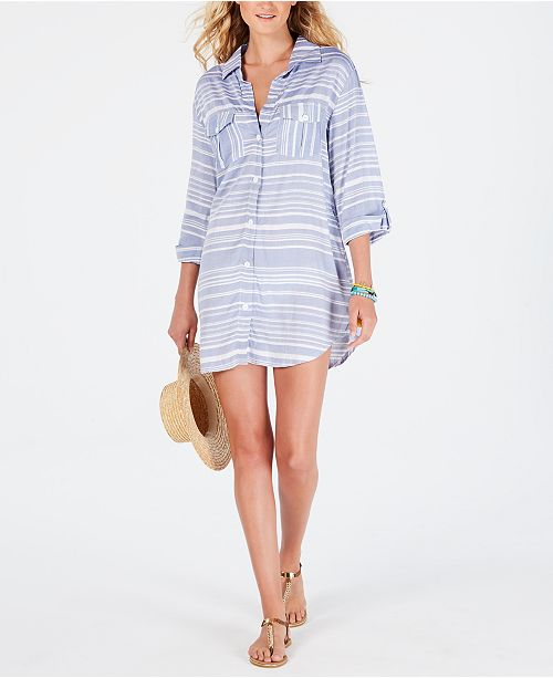 Dotti Striped Shirt Dress Cover-Up