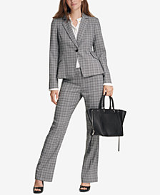 Calvin Klein Plaid Blazer, Pleated Top & Straight-Leg Pants