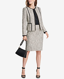 Calvin Klein Tweed Blazer, Metallic Top & Pencil Skirt