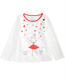 First Impressions Baby Girls Heart Girl Graphic Cotton T-Shirt, Created for Macy's