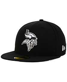 Minnesota Vikings Black And White 59FIFTY Fitted Cap