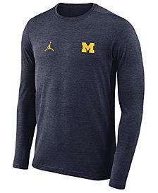 Nike Men's Michigan Wolverines Long Sleeve Dri-FIT Coaches T-Shirt