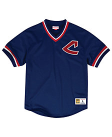 Mitchell & Ness Men's Cleveland Indians Mesh V-Neck Jersey