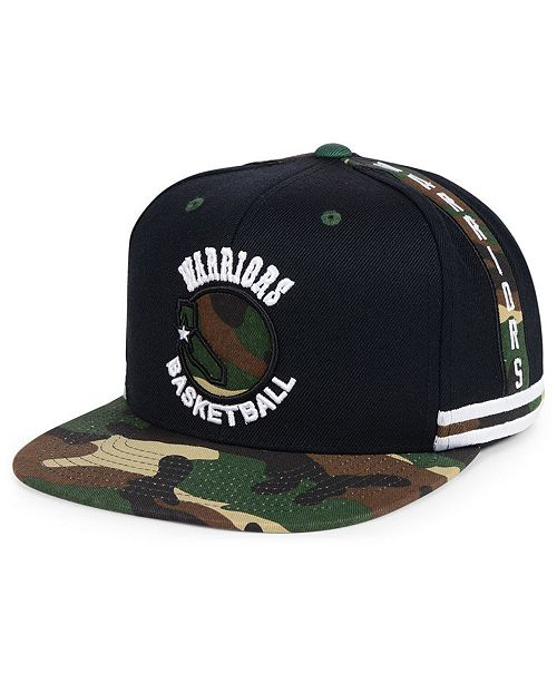 newest collection 8583b 5c699 Mitchell   Ness. Golden State Warriors Straight Fire Camo Hook Snapback Cap.  Be the first to Write a Review. main image ...