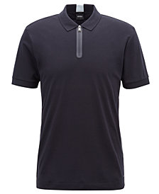 BOSS Men's Slim-Fit Half-Zip Cotton Polo