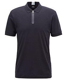BOSS Men's Slim-Fit Half-Zip Cotton Polo