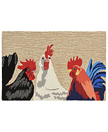 Liora Manne Front Porch Indoor/Outdoor Barnyard Roosters Neutral 2' x 3' Area Rug