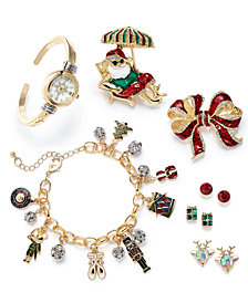 Charter Club Holiday Lane Two-Tone Crystal Multicolor Jewelry Separates, Created for Macy's