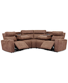 Oaklyn 5-Pc. Fabric Sectional With 2 Power Recliners, Power Headrests, USB Power Outlet & 2 Drop Down Tables