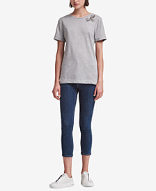 DKNY Cotton Rhinestone-Embellished T-Shirt, Created for Macy's