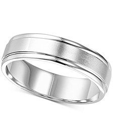 Satin Finish Edged Wedding Band in 14k White Gold