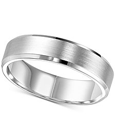 Brush Finish Beveled-Edge Wedding Band in 14k White Gold