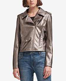 DKNY Metallic Faux-Leather Moto Jacket, Created for Macy's