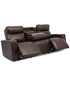 """Oaklyn 84"""" Leather Sofa With Power Recliners, Power Headrests, USB Power Outlet and Drop Down Table"""