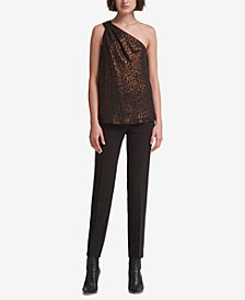 DKNY Metallic-Print One-Shoulder Top, Created for Macy's