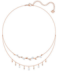 "Swarovski Rose Gold-Tone Crystal Double-Layer Necklace, 13-3/8"" + 2"" extender"