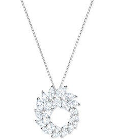 "Swarovski Silver-Tone Marquise Crystal 14-7/8"" Pendant Necklace"