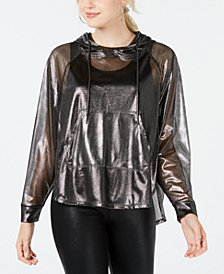 Material Girl Juniors' Metallic Semi-Sheer Windbreaker, Created for Macy's