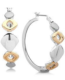 Nine West Tri-Tone Sculptural Hoop Earrings